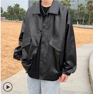 2021 Men's Lovers Clothes Baseball Pu Leather Motorcycle Jackets Trench Clothing Russian Loose Male Coats Slim Fit Black Jacket