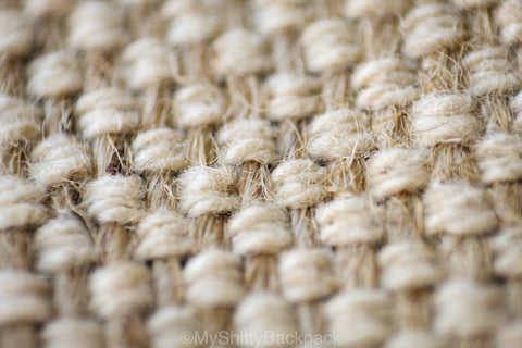 Close up of the hemp and cotton material of the backpack
