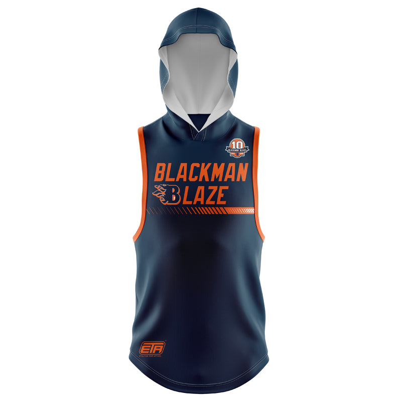 BLACKMAN BLAZE SLEEVELESS HOODIE NAVY