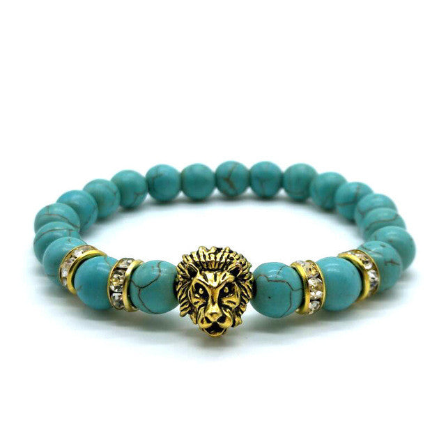 GK Lion Bead Bracelet-Black, White, Blue and Stone