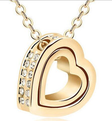 Ladies Gold or Silver Heart Pendant & Necklace