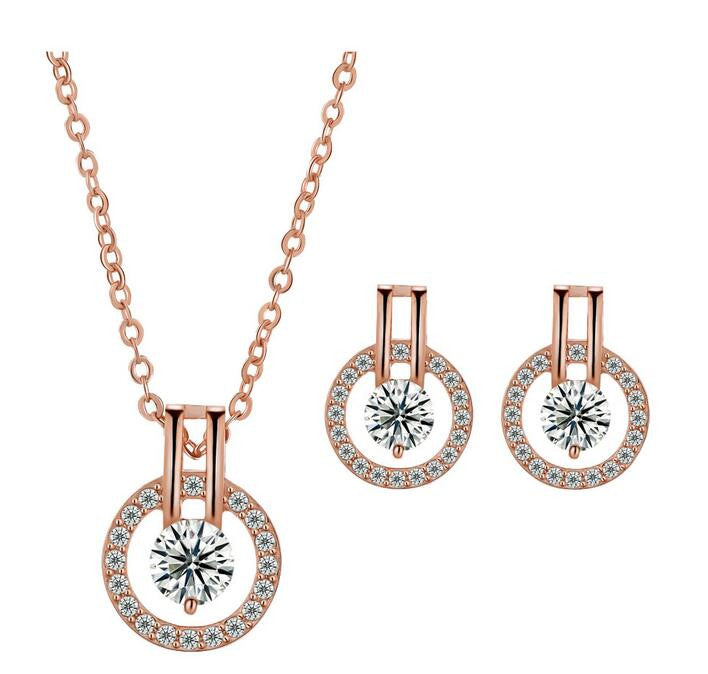 Circle Rose Earring and Necklace Set