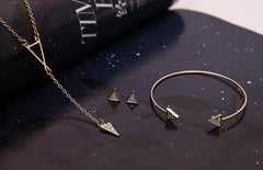 Triangle Necklace, Bracelet and Earring Set