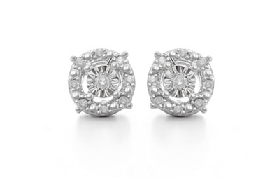 DIAMOND HALO EARRINGS IN STERLING SILVER