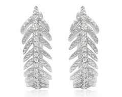 DIAMOND FEATHER EARRINGS IN STERLING SILVER WITH LATCH BACKS