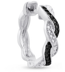 BLACK DIAMOND SWIRL HOOP EARRINGS