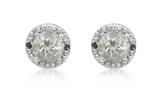 GREEN AMETHYST AND BLACK DIAMOND HALO STUD EARRINGS IN STERLING SILVER