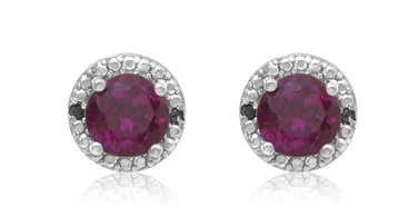RUBY AND BLACK DIAMOND HALO STUD EARRINGS IN STERLING SILVER