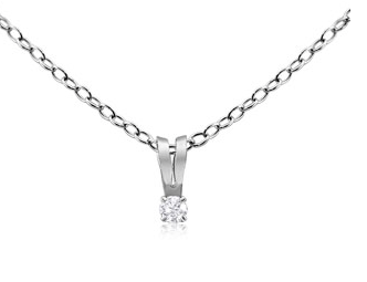 DIAMOND NECKLACE IN STERLING SILVER WITH 18 INCH CHAIN
