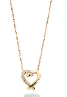 Yellow Gold Diamond Heart Pendant Necklace