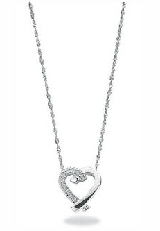 White Gold Diamond Heart Pendant with Necklace