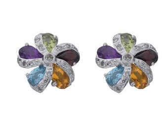 White Gold  Diamond & Multi Colour Gems Flower Earrings