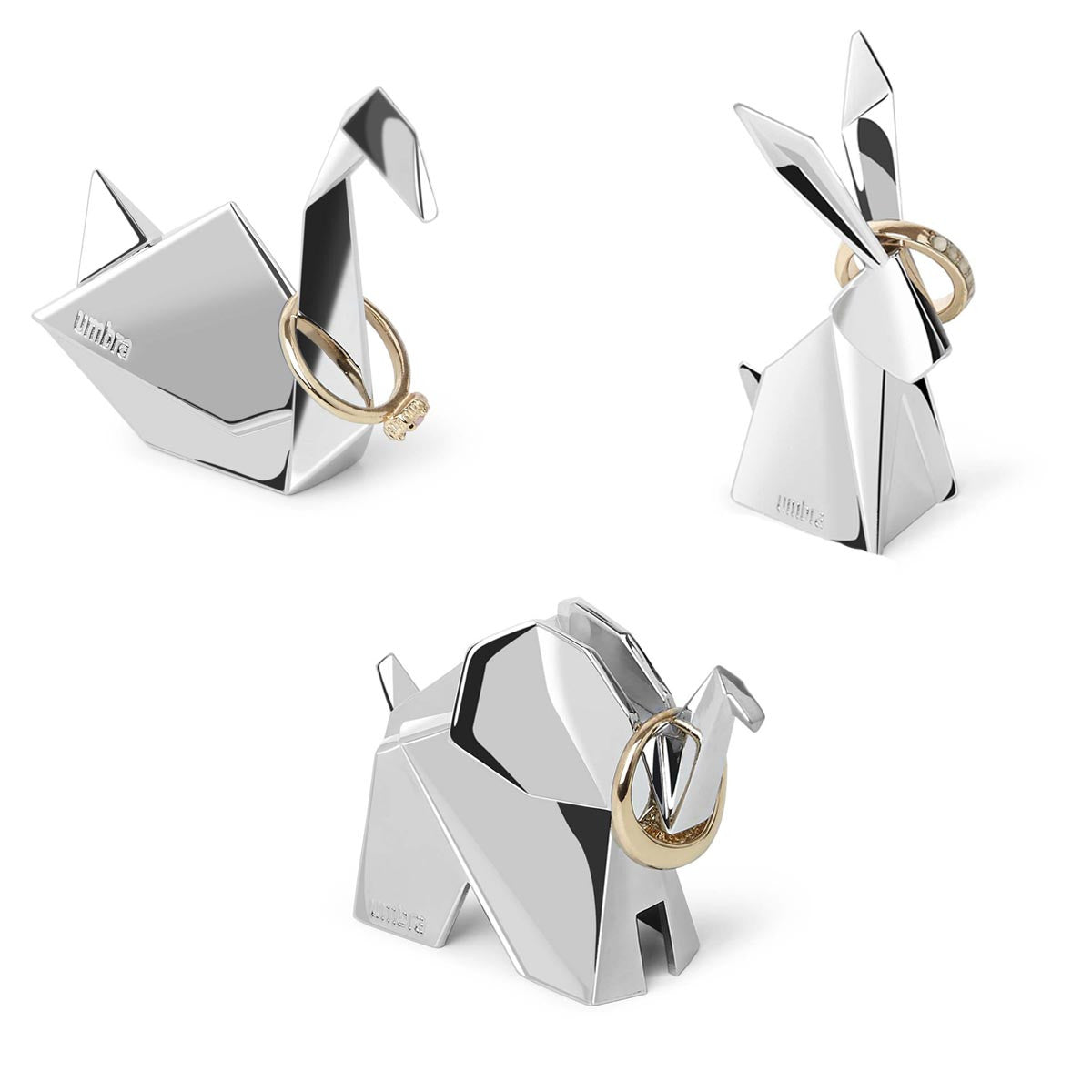 Umbra 3 Pack Origami Bunny Reindeer Swan Jewelry Holder - Origamis-animales