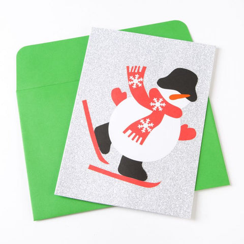 Skiing snowman pop up holiday christmas cards by moma zillymonkey skiing snowman pop up holiday cards by moma m4hsunfo