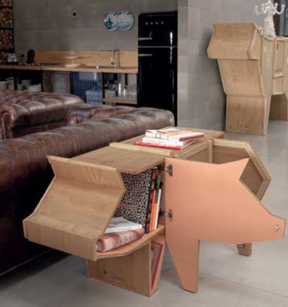 Sending Pig Animal Wood Crate Shelf Cabinet By Seletti