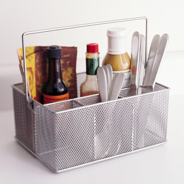 Silver Mesh Condiment Kitchen Caddy Holder Design Ideas
