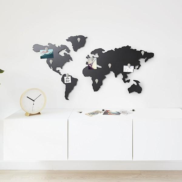 Mappit world map titanium plated wall decor by umbra zillymonkey mappit world map magnetic board by umbra gumiabroncs Choice Image
