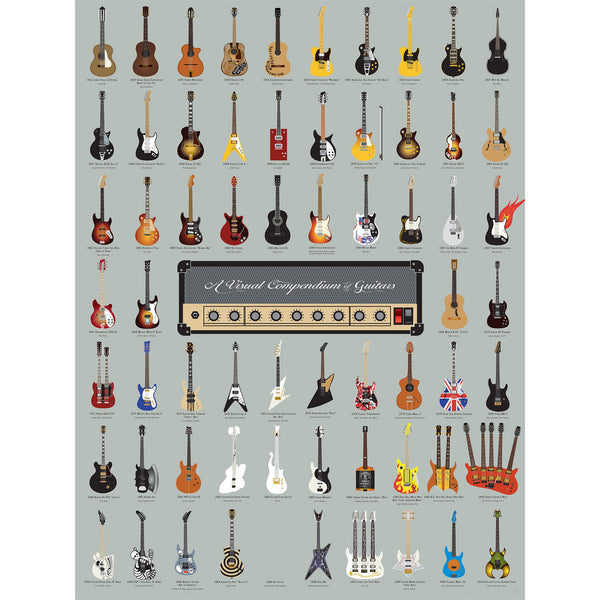 A Visual Compendium Of Guitars Poster Pop Chart Lab