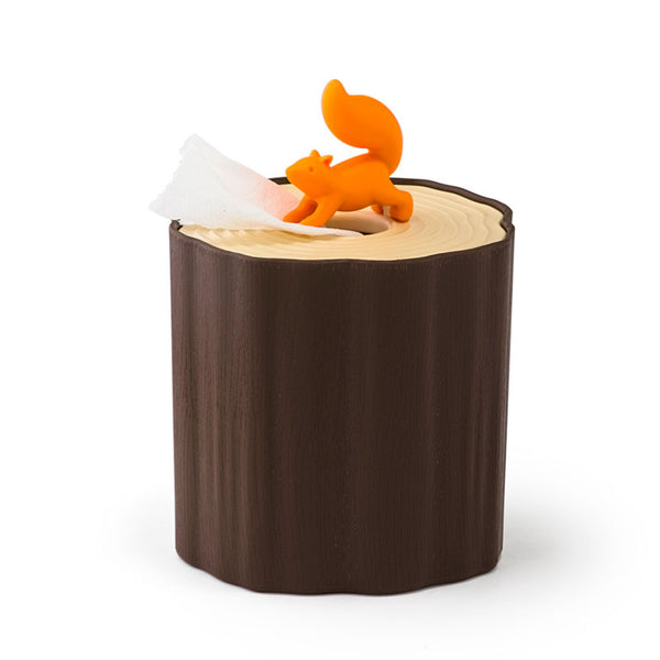 Qualy Squirrel Log Table Tissue Toilet Paper Holder
