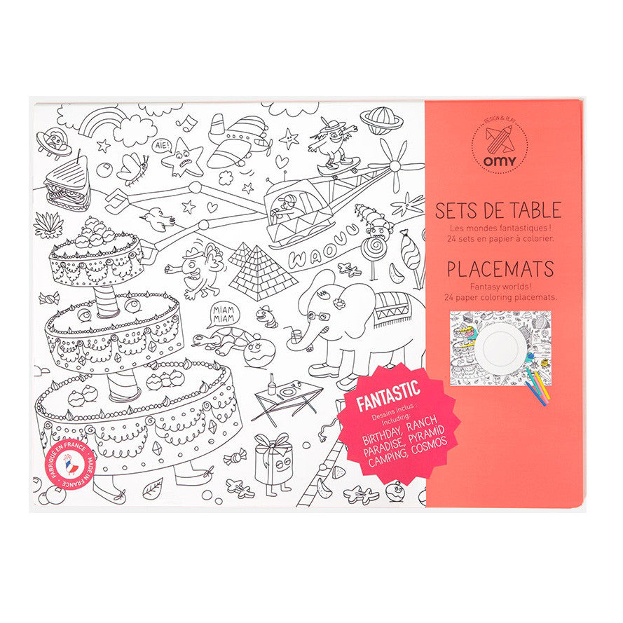 OMY Coloring Kids Dinner Placemats Fantastic   zillymonkey