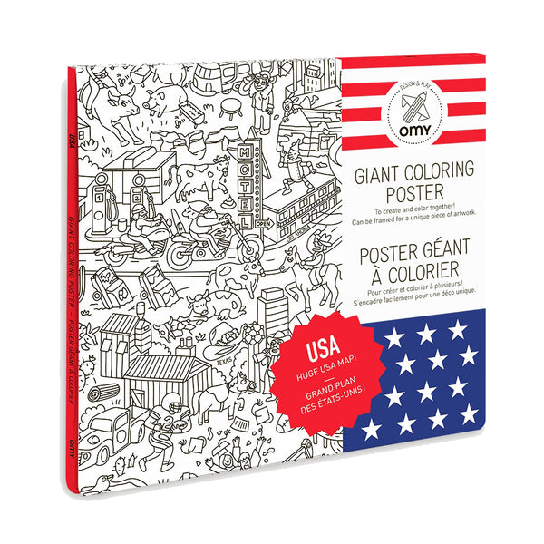 OMY Giant Coloring Wall Poster - USA Map Zillymonkey