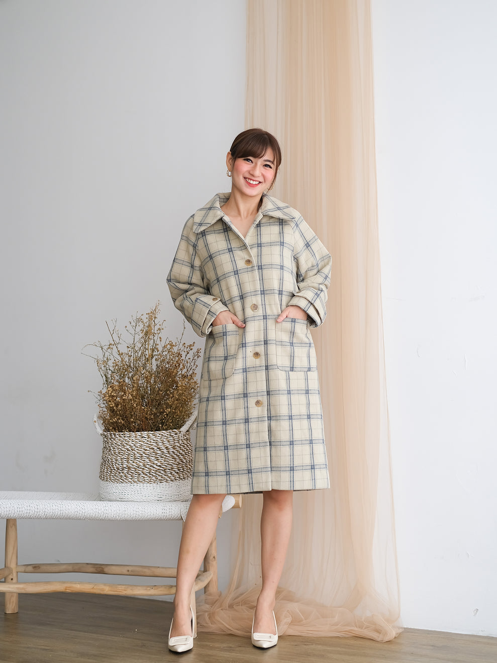 Emmy Plaid Wool Blend Coat