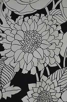 SPECTACULAR BOLD 1960'S BLACK AND WHITE FLORAL PRINT CURTAIN PANEL ...