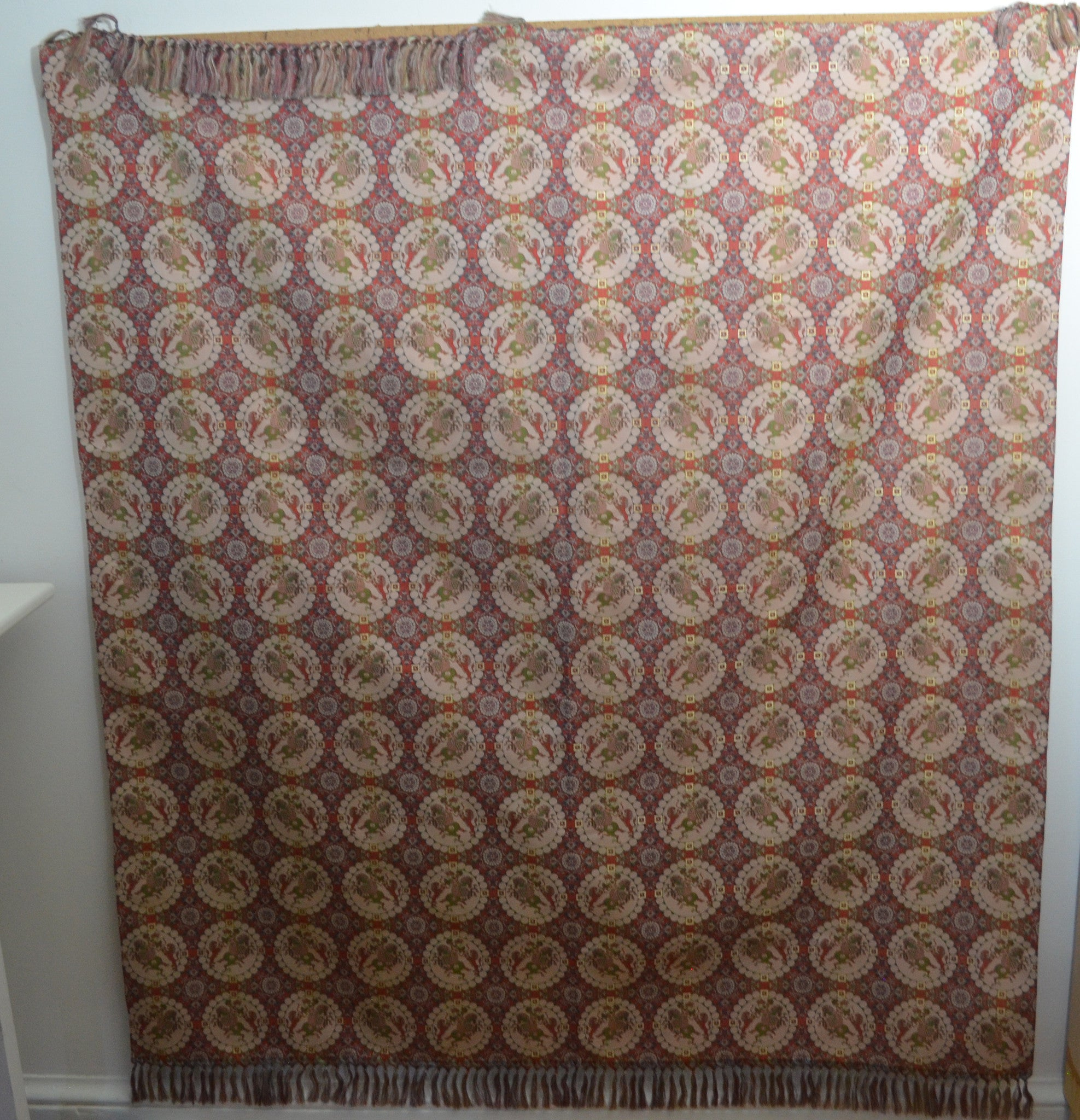 TATSUMURA JAPANESE SILK BROCADE TABLECLOTH WITH HAND TIED FRINGES SS32