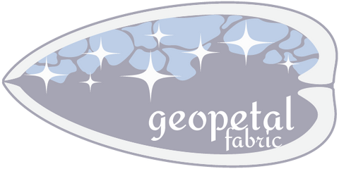 logo of the store brand is a clam shell viewed from the side with blue calcite and sparkles at the top and the words geopetal fabric in the bottom