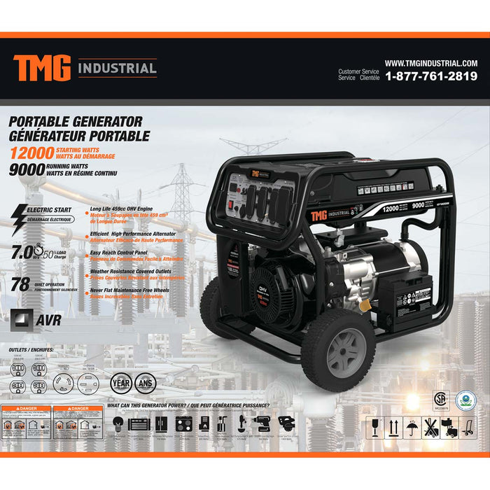 12000 Watt Gas Generator w/Electric Start, 120V/240V 20A/30A/50A AC + 12V DC Outlets