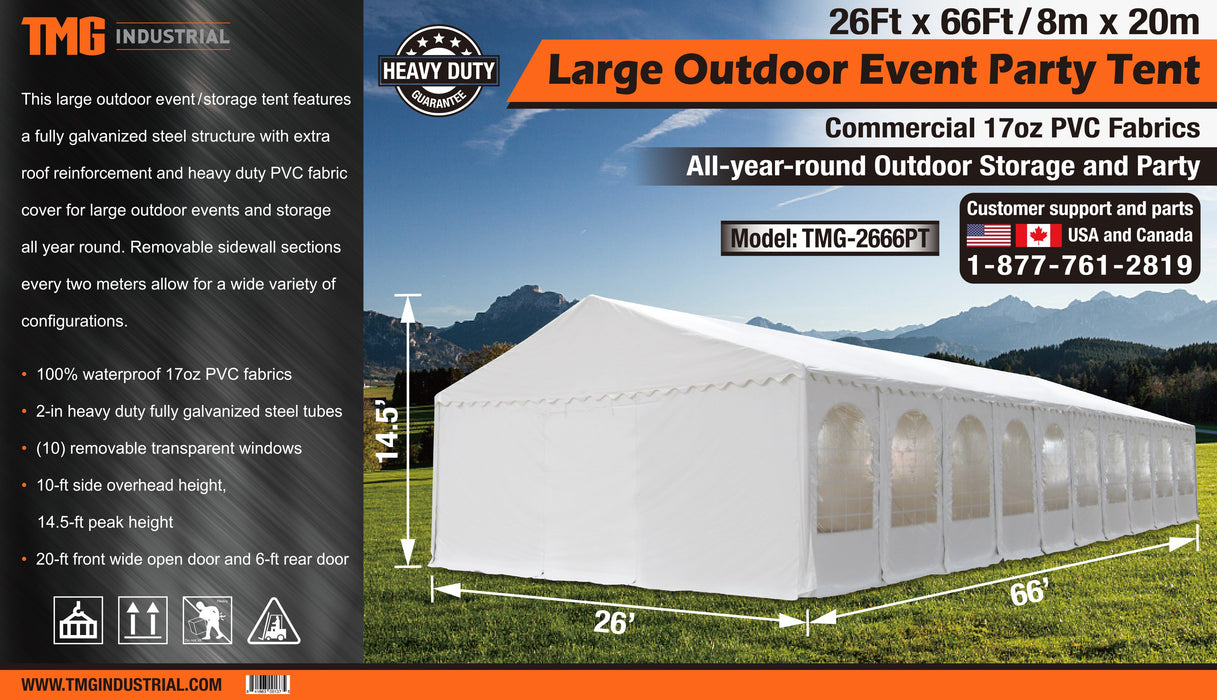 26' x 66' Large Outdoor Party Tent with Commercial Grade 17oz PVC Fabric