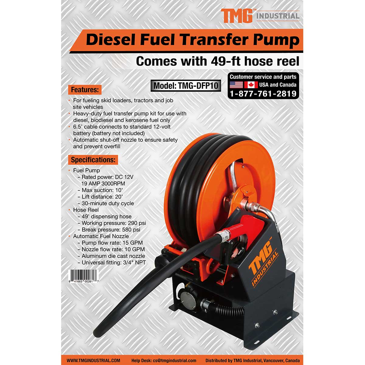 12V Portable Diesel Fuel Tank Transfer Pump with 49-ft Hose Reel, Commercial Grade