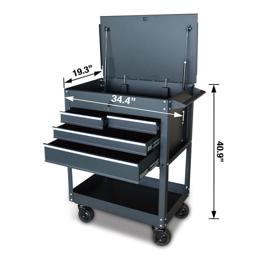 4-Drawer Rolling Service Cart with Locking Lid