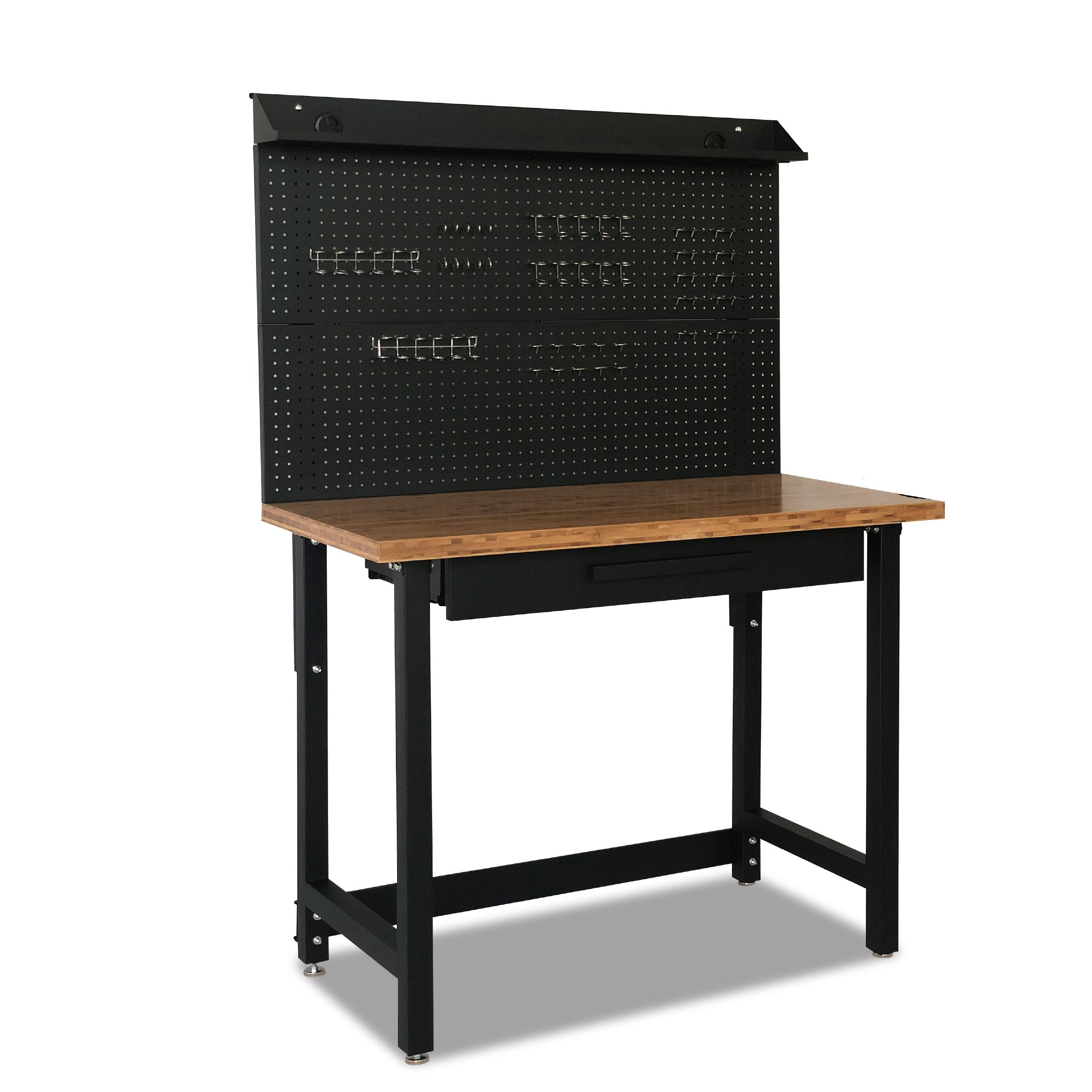 "48"" Bamboo Workbench with Pegboard and Drawer - Heavy-Duty Powder-Coated Steel Frame, 500 Lbs Weight Capacity"