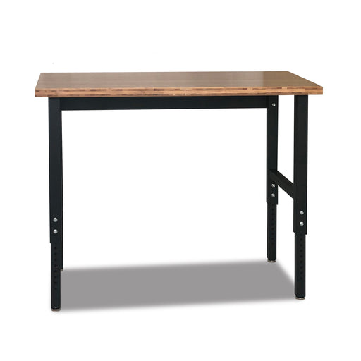 "48-in Bamboo Workbench - Adjustable Height: 28.5"" - 42"" - Heavy-Duty Steel Frame"