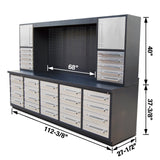 10ft 20-Drawer Workbench Cabinet Combo with Stainless Steel Drawer Panels