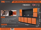 "10ft 25-Drawer Workbench Cabinet Combo with 68"" Pegboard"