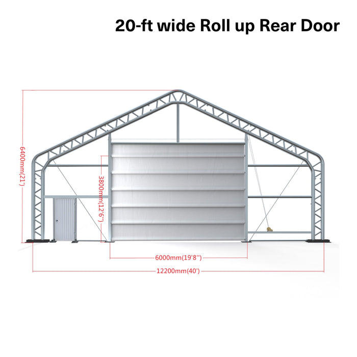 Pro Series 40' x 80' Dual Truss Storage Shelter with Heavy Duty 21oz PVC Fabric