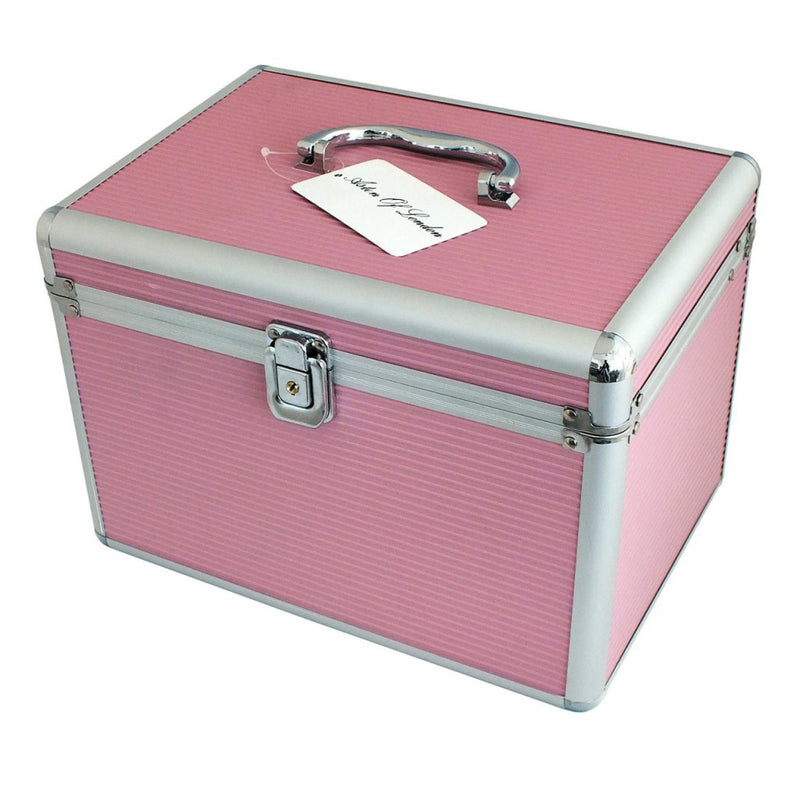 LARGE PINK ALUMINIUM LOCKABLE VANITY CASE COSMETIC MAKE UP JEWELLERY STORAGE BOX - tooltime.co.uk