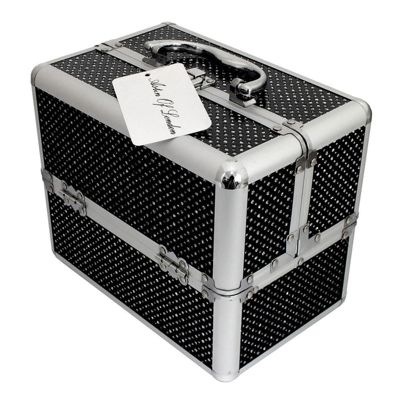 LARGE BLACK SPARKLING DIAMANTE DOUBLE OPEN VANITY CASE COSMETIC BOX + LOCKING - tooltime.co.uk