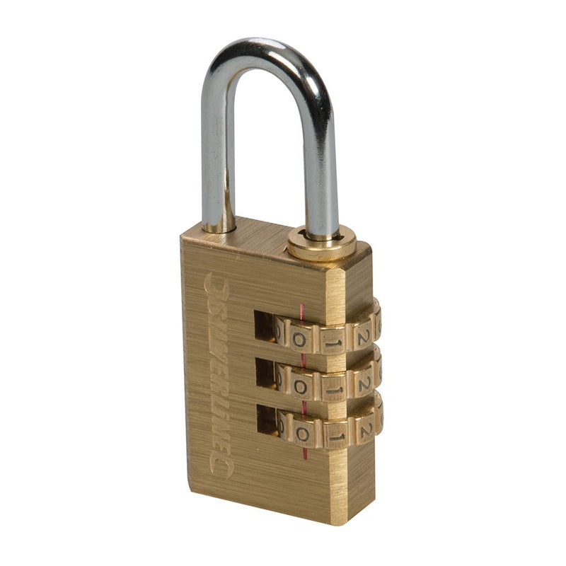3-DIGIT COMBINATION PADLOCK BRASS 744867-tooltime.co.uk