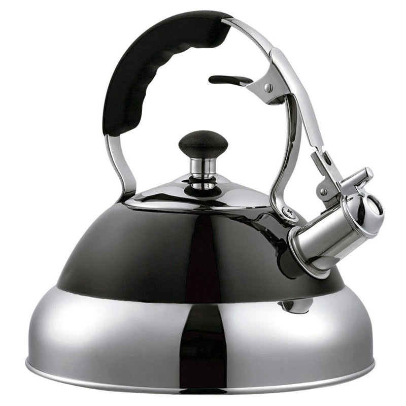 BLACK 3.5L STAINLESS STEEL WHISTLING KETTLE FOR GAS & ELECTRIC HOBS FAST BOIL - tooltime.co.uk