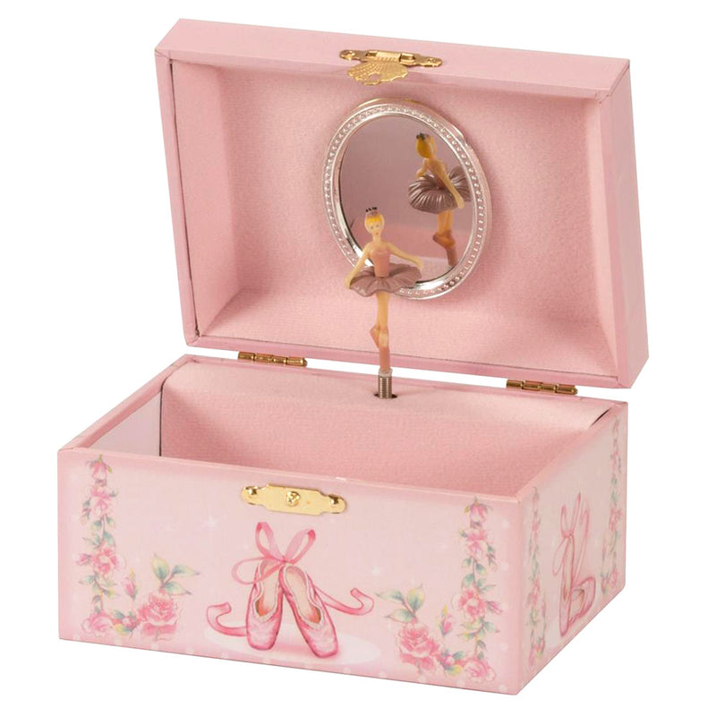 PINK BALLET SHOES MUSICAL JEWELLERY BOX MELE GIRLS SPINNING BALLERINA FIGURINE - tooltime.co.uk