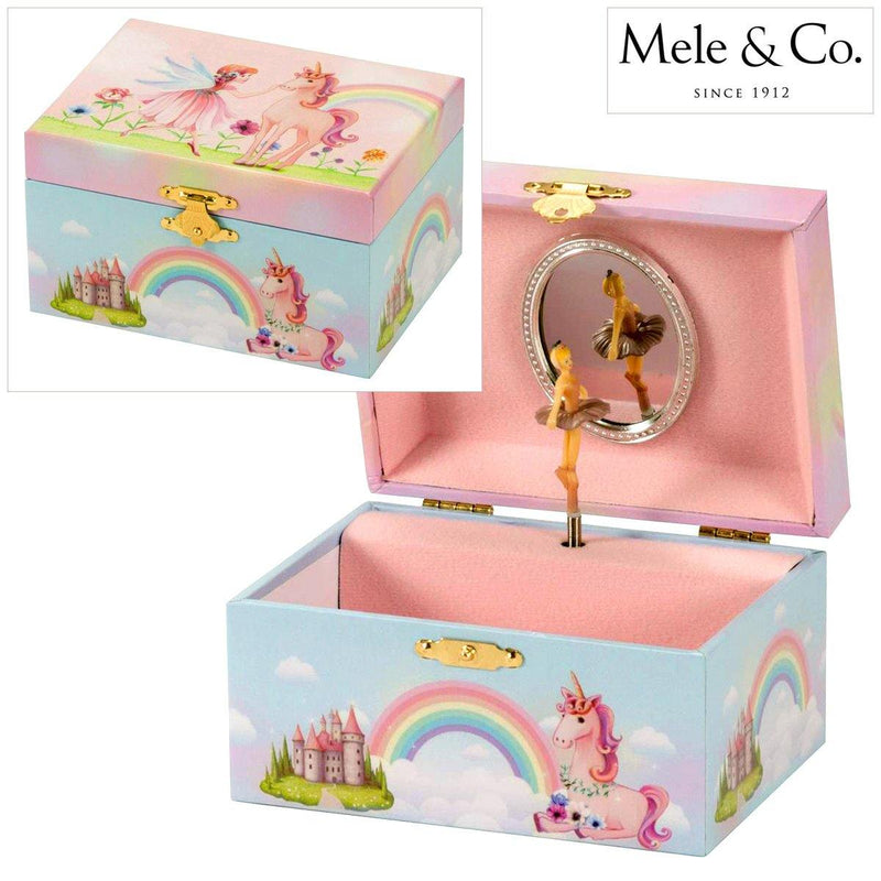 GIRLS FAIRY RAINBOW & UNICORN MUSICAL JEWELLERY TRINKET BOX SPINNING BALLERINA-tooltime.co.uk