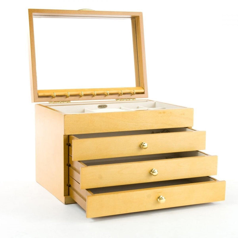 MELE & CO 'BRITNEY' BEECH COLLECTION LARGE WOODEN JEWELLERY BOX-tooltime.co.uk