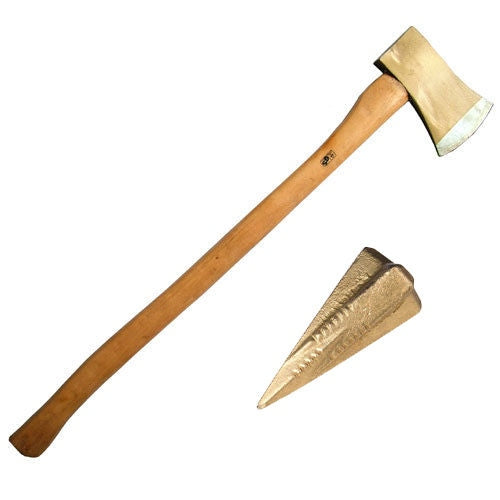 4LB FELLING AXE WITH ASH WOOD WOODEN HANDLE + LOG BOMB SPLITTING WEDGE - tooltime.co.uk
