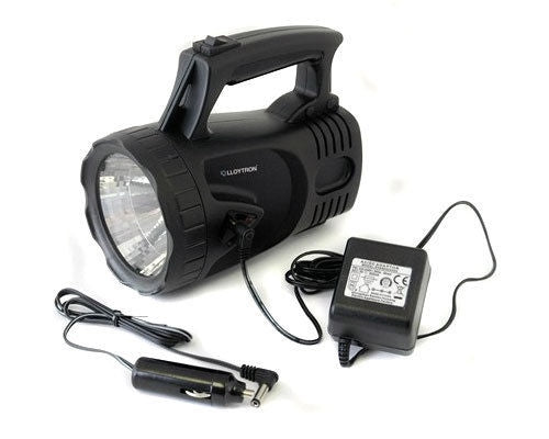 DEMO 1 MILLION CANDLE POWER RECHARGEABLE LED SPOTLIGHT TORCH + AC/DC CHARGERS-tooltime.co.uk