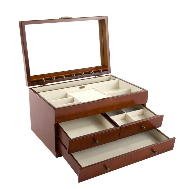 MELE EX LARGE WALNUT WOODEN EFFECT INLAID JEWELLERY BOX BY LIONITE MELE-tooltime.co.uk