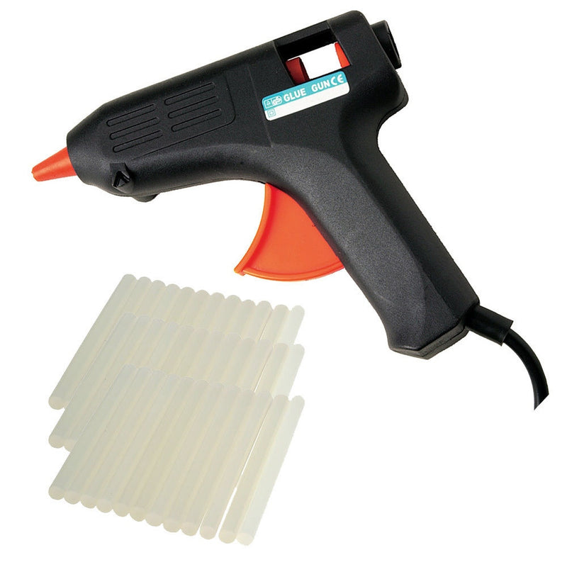 40 WATT ELECTRIC HOT MELT ADHESIVE HOBBY CRAFT GLUE GUN + 52 GLUE STICKS + STAND - tooltime.co.uk