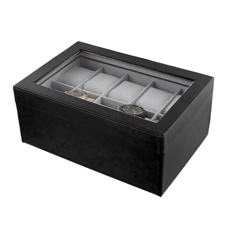 GENTS GENUINE BLACK BONDED LEATHER 10 WATCH STORAGE BOX GLASS LID DISPLAY CASE - tooltime.co.uk